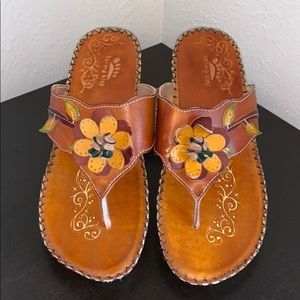 Spring Step SZ 40 Linda Brown Leather Sandals NEW